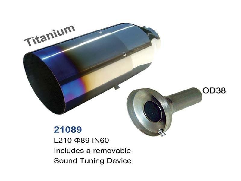 universal titanium exhaust tip 89mm l210